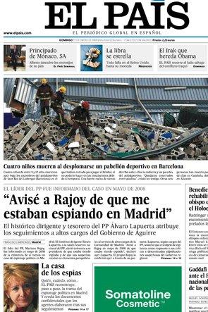 Portada El País 25 enero 2009