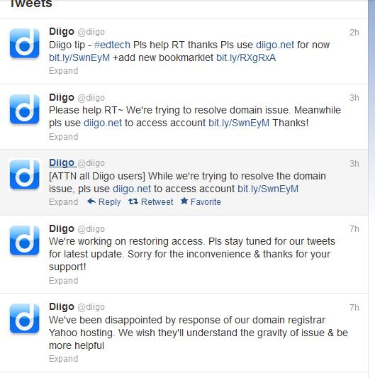 Ejemplo de comunicación de crisis en Twitter - Diigo