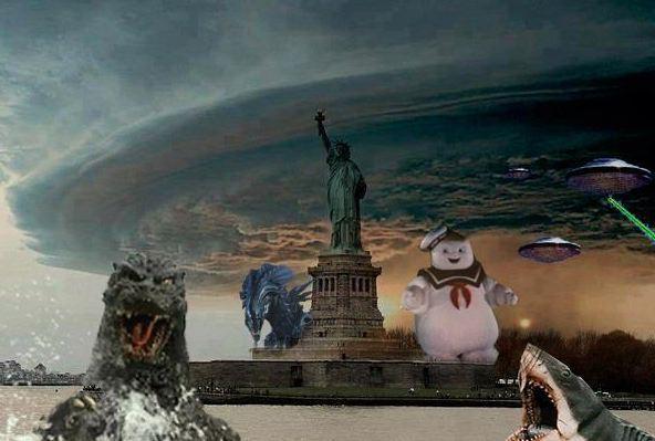 Imagen que ironiza con las numerosas fotografías falsas que dejó tras de sí el Huracán Sandy