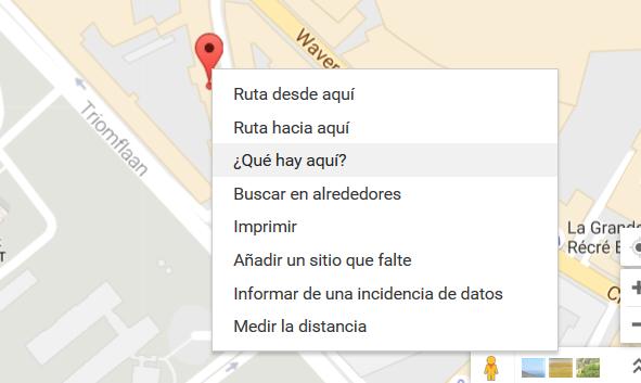 Coordenadas de un lugar en Google Maps.