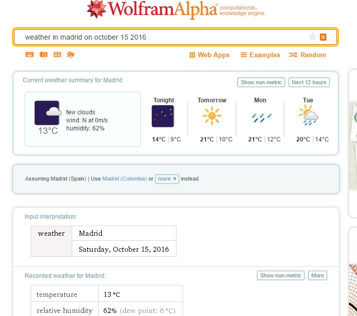 Pantallazo del buscador Wolfram