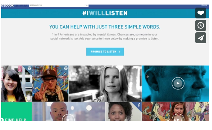 I will listen. Campaña de National Alliance for Mental Illness.
