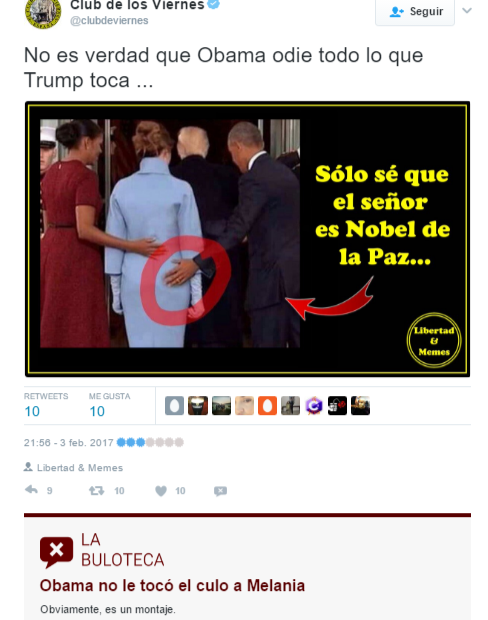 Aviso de La Buloteca en un tuit con información falsa