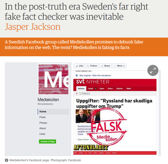 Una página de falso fact-checking en Suecia