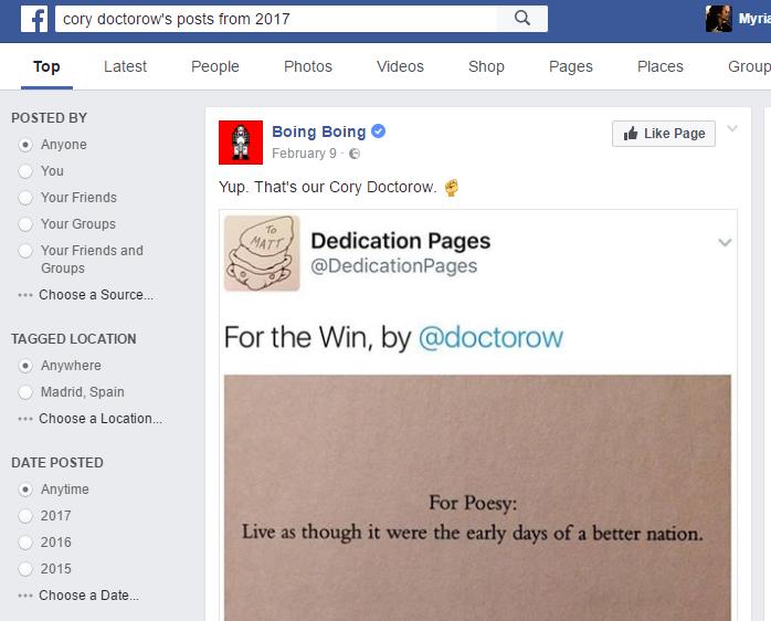 Resultados de búsqueda para el conocido bloguero Cory Doctorow.