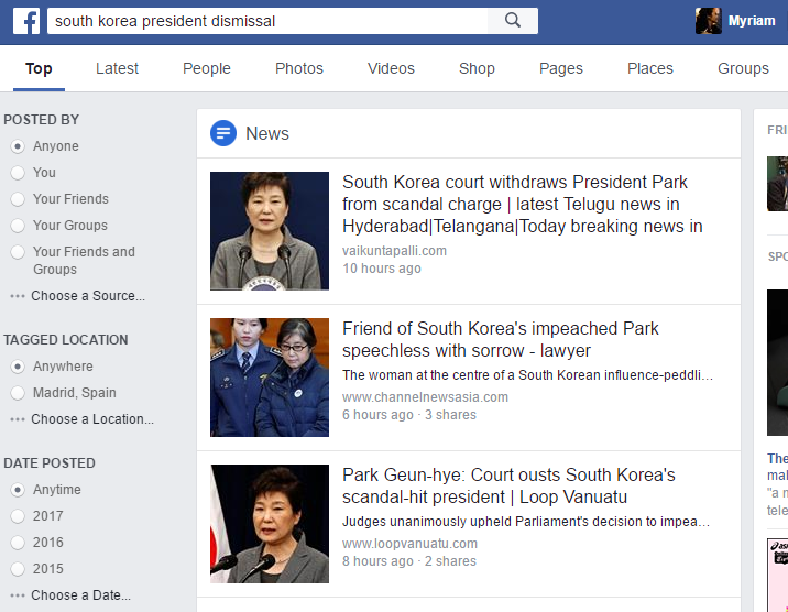 Los menús horizontal y vertical de búsqueda en FB